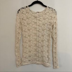 Free people lace top size xs cream ivory flaws